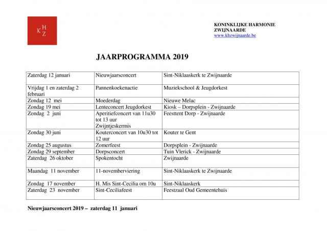 Jaarprogramma 2019